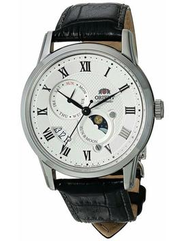 Orient Men's Fak00002 S0 Sun And Moon V3 Moonphase Automatic Black Leather Watch by Orient