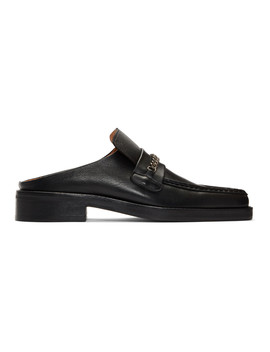 Black Leather Slip On Loafers by Martine Rose