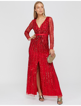 Jessa Linear Long Sleeve Maxi Dress by Monsoon