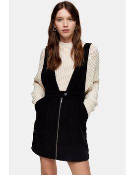 Black Corduroy Plunge Zip Dress by Topshop