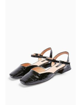 Alaska Black Croc Square Toe Shoes by Topshop