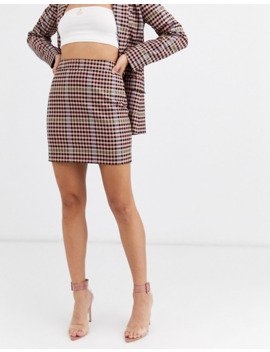 Asos Design Candy Check Mini Suit Skirt by Asos Design