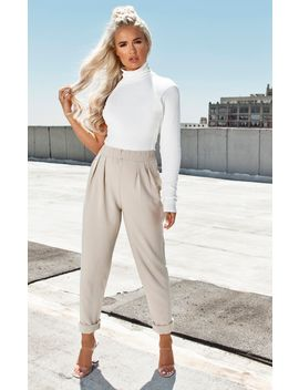 Stone High Waisted Tapered Trousers by Prettylittlething