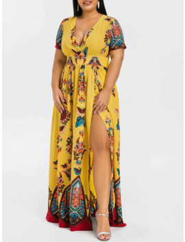 Plus Size Printed Maxi Split Dress by Dress Lily