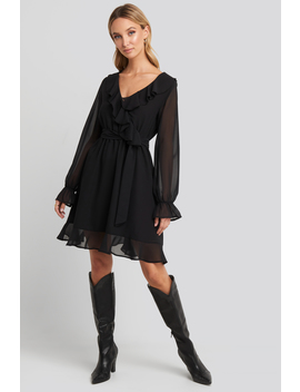 Flounce Chiffon Mini Dress Black by Na Kd