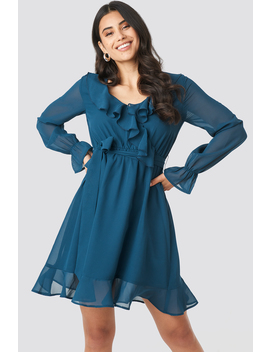 Flounce Chiffon Mini Dress Blue by Na Kd
