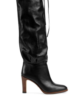Leather Mid Heel Boot by Gucci