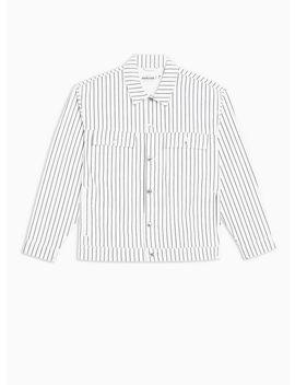 White Pinstripe Denim Jacket by Topman