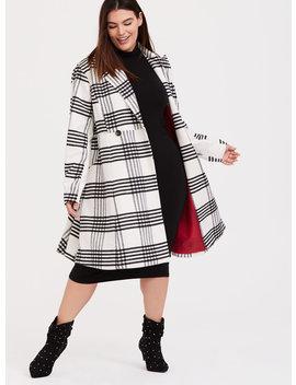 White & Black Plaid Woolen Statement Coat by Torrid