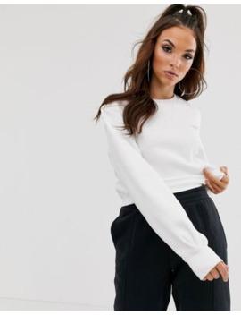 Reebok Vector Cropped Sweatshirt In White by Reebok