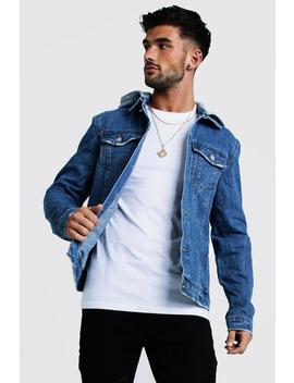Denim Jacket With Removable Hood by Boohoo