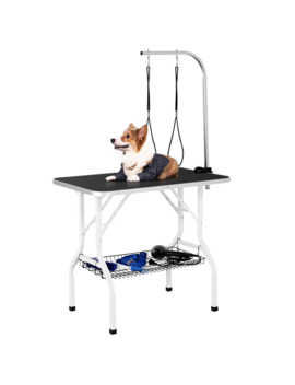 36'' Pet Grooming Table Folding Dog Grooming Table Adjustable Arm W/Clamp Black by Easyfashion