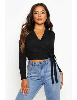 Petite Rib Wrap Front Tie Detail Top by Boohoo