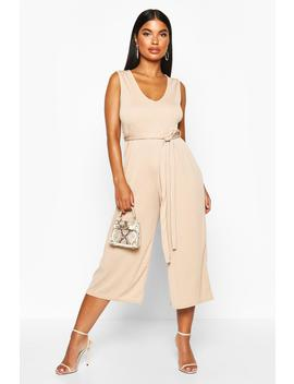 Petite Basic Rib Plunge Belted Culotte Jumpsuit by Boohoo