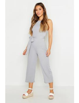 Petite High Neck Belted Rib Culotte Jumpsuit by Boohoo