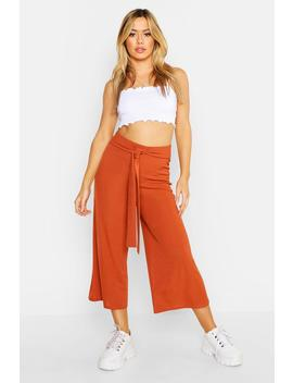 Petite Self Fabric Belted Culottes by Boohoo