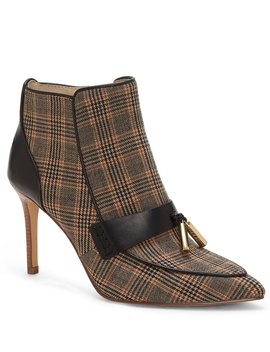 Shiro Plaid Tassel Stiletto Booties by Louise Et Cie