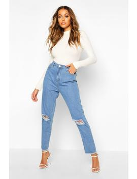 High Rise Frayed Hem Distressed Straight Leg Jean by Boohoo