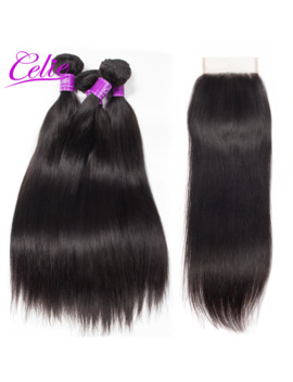 Celie Hair Brazilian Straight Hair 4 Bundles With Closure 5 Pcs/Lot Natural Black Color Remy Human Hair Bundles With Closure by Ali Express.Com