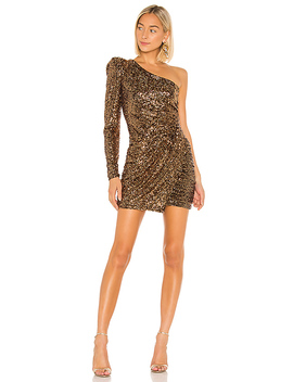 L Orane One Shoulder Draped Mini Dress In Gold by Iorane