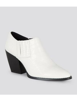 Off White Faux Croc Western Shoe Boots by New Look