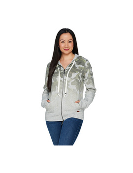 Peace Love World Ombre Print Zip Front Fleece Hoodie by Peace Love World