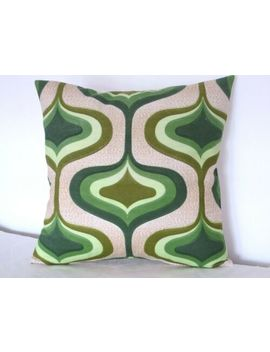 Vintage 196os/70s Green Geometric Fabric Cushion Cover by Ebay Seller