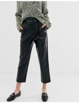 Moon River Faux Leather Cropped Trousers by Moon River