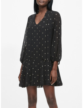Petite Metallic Dot Tie Neck Dress by Banana Repbulic