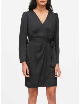 Petite Puff Sleeve Wrap Dress by Banana Repbulic