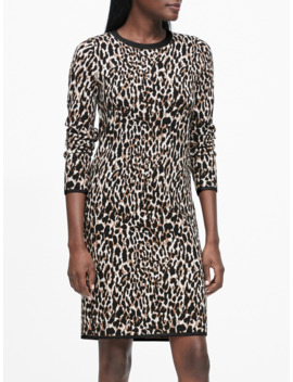 Petite Leopard Sweater Dress by Banana Repbulic