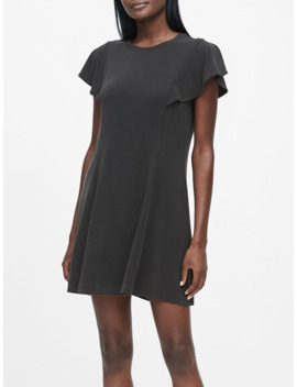 Petite Sandwash Modal Flutter Sleeve Dress by Banana Repbulic