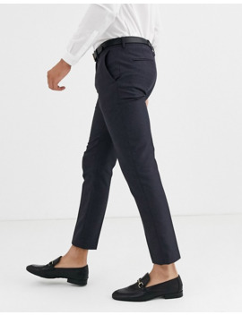 Burton Menswear Skinny Fit Blue Highlight Check Smart Trousers In Grey by Burton Menswear London