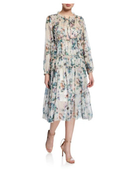 Style Keepers The Romantic Floral Ruffle Midi Dress by Style Keepers