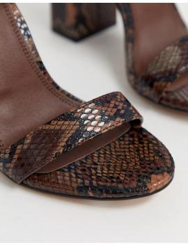 Highlight Barely There Sandaler Med Høje Hæle I Brun Slangeprint Fra Asos Design by Asos Design