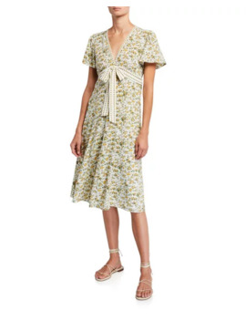 Max Studio Floral Tie Waist Midi Dress by Max Studio
