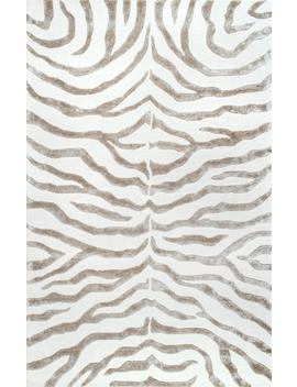 Safari Contemporary Zebra Print With Faux Silk Highlights Rug by Rugs Usa