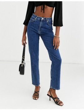 Asos Design Tall High Rise Stretch 'slim' Straight Leg Jeans In Mid Vintage Wash by Asos Design