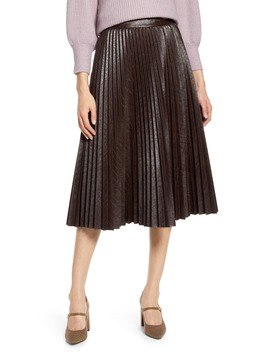X Atlantic Pacific Pleated Croc Faux Leather Midi Skirt by Halogen