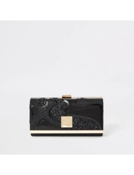 Black Glitter Swirl Cutabout Cliptop Purse by River Island