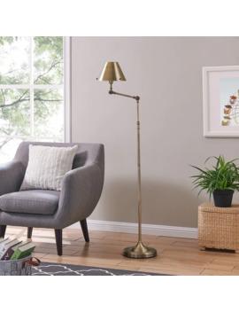 Porch & Den Capulet Brushed Brass Finish Metal Adjustable Floor Lamp by Porch & Den