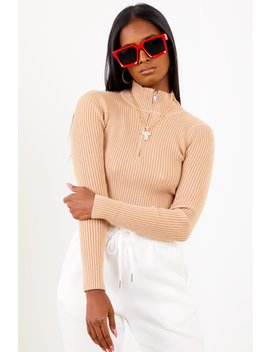 Taupe Zip Up Ribbed Crop by Sorella
