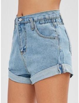 Hot Sale High Waisted Denim Cuffed Shorts   Denim Blue Xs by Zaful