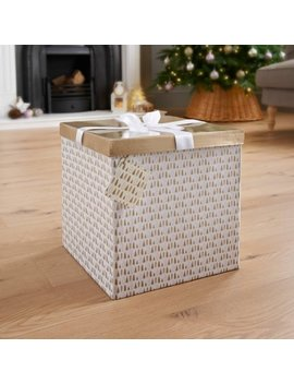 Xl Christmas Gift Box With Bow & Tag   Gold Trees by B&M