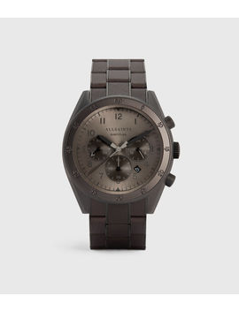 Subtitled Viii Gunmetal Stainless Steel Leather Wrapped Watch by Allsaints
