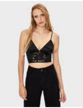 Top In Satin E Pizzo by Bershka