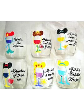 Princess Inspired Wine Glasses. Disney Wine Tumbler. Stemless Wine Glass by Etsy