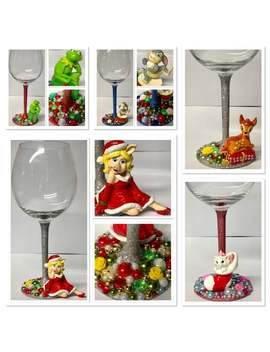 Christmas Disney Glitter Wine Glass   Muppets   Aristocats   Bambi by Etsy