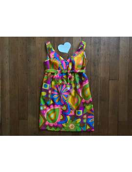 Vintage 1960s Psychedelic Mini Dress by Etsy