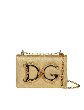 Dolce & Gabbana Dg Girls Shoulder Bag In Nappa Covered With A Baroque Reason by Dolce & Gabbana